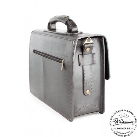 """Кожаный портфель ручной работы """"Уран II"""" (чёрный) - 3"""