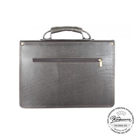"""Кожаный портфель ручной работы """"Уран II"""" (чёрный) - 5"""