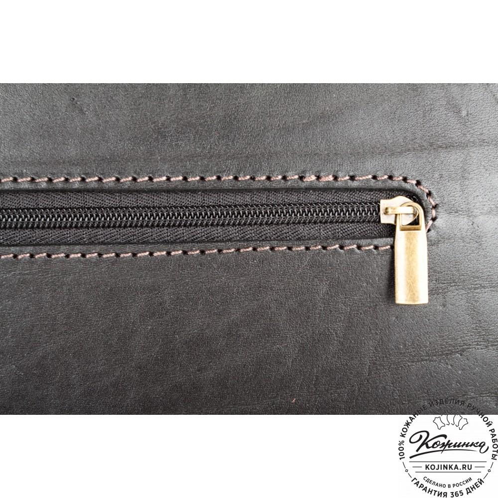 """Кожаный портфель ручной работы """"Уран II"""" (чёрный)"""