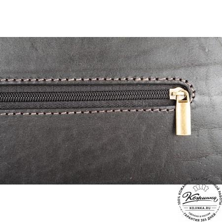 """Кожаный портфель ручной работы """"Уран II"""" (чёрный) - 6"""