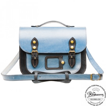 """Кожаный портфель """"Сатчел""""  (чёрно-голубой) - 8"""