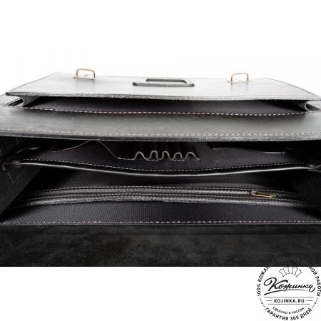 """Кожаный портфель ручной работы """"Уран II"""" (чёрный) - 2"""