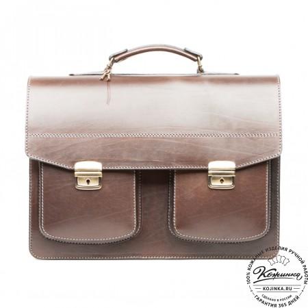"""Кожаный портфель ручной работы """"Коммерсант"""" (коричневый) - 8"""