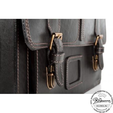"""Кожаный портфель ручной работы """"Уран II"""" (чёрный) - 11"""