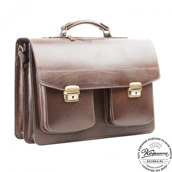 """Кожаный портфель ручной работы """"Коммерсант"""" (коричневый). фото 1"""