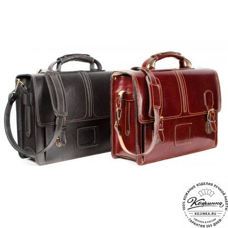 """Кожаный портфель ручной работы """"Уран II"""" (коричневый) - 3"""