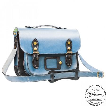 """Кожаный портфель """"Сатчел""""  (чёрно-голубой) - 4"""