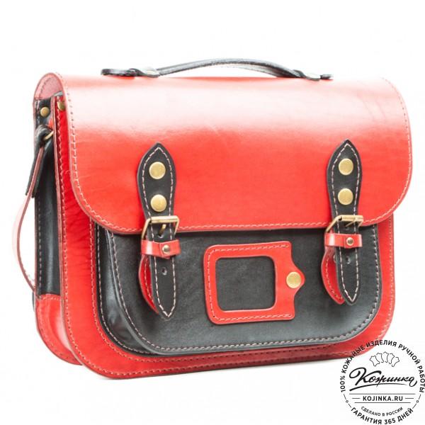 """Кожаный портфель """"Сатчел""""  (красно-чёрный). фото 1"""