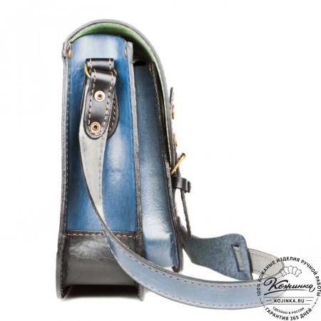 """Кожаный портфель """"Сатчел""""  (чёрно-голубой) - 3"""