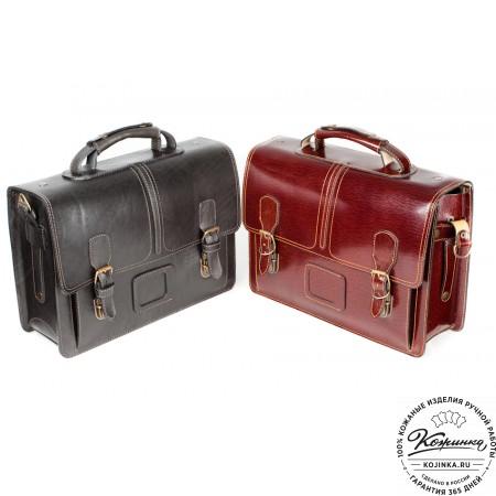 """Кожаный портфель ручной работы """"Уран II"""" (коричневый) - 14"""