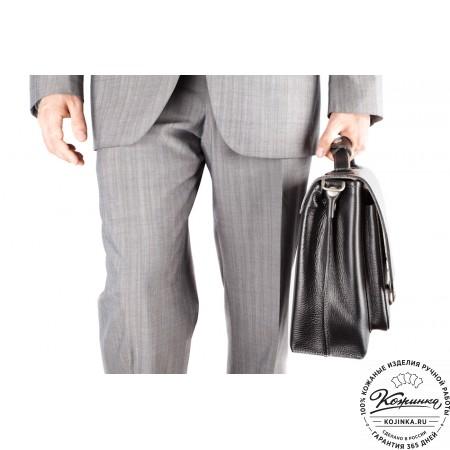 """Кожаный портфель ручной работы """"Марсель"""" (чёрный) - 7"""