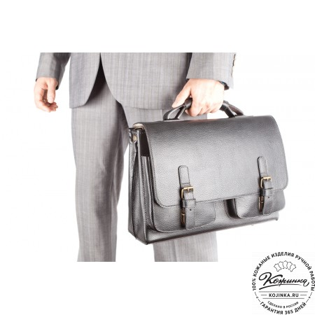 """Кожаный портфель ручной работы """"Рональд"""" (чёрный) - 2"""