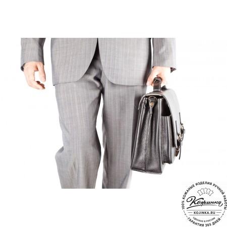 """Кожаный портфель ручной работы """"Рональд"""" (чёрный) - 10"""
