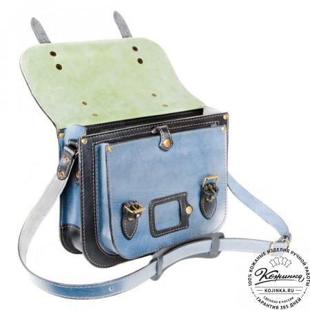 """Кожаный портфель """"Сатчел""""  (чёрно-голубой) - 2"""