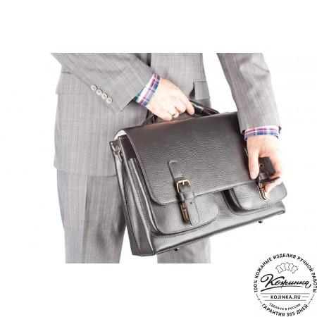 """Кожаный портфель ручной работы """"Рональд"""" (чёрный) - 9"""