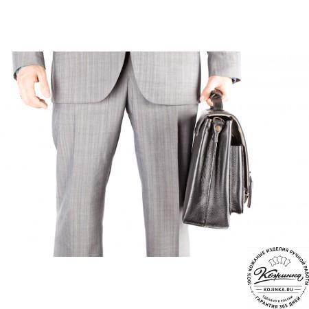 """Кожаный портфель ручной работы """"Рональд"""" (чёрный) - 8"""