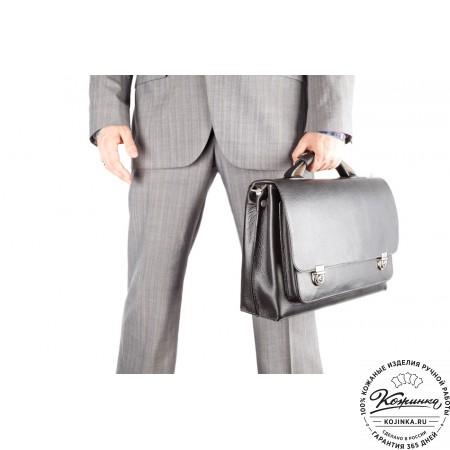 """Кожаный портфель ручной работы """"Марсель"""" (чёрный) - 2"""