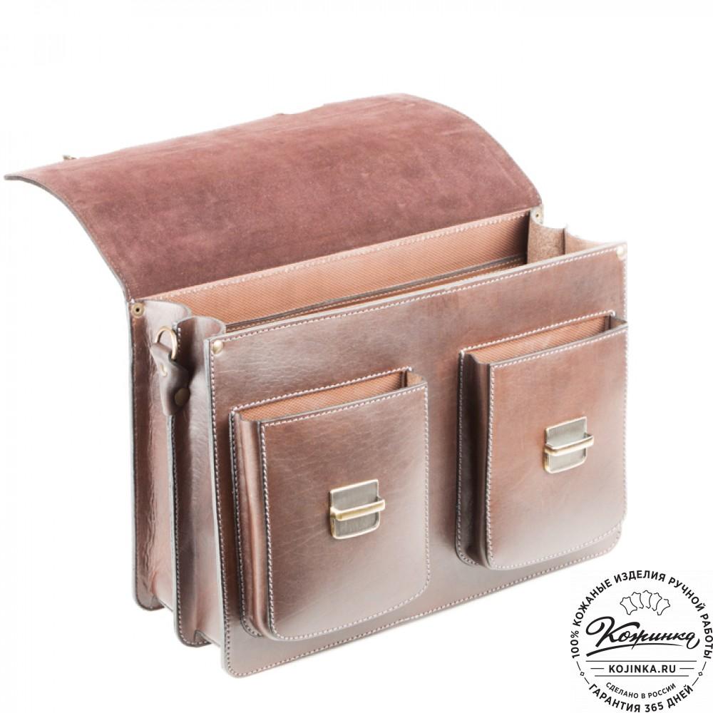 """Кожаный портфель ручной работы """"Коммерсант"""" (коричневый)"""