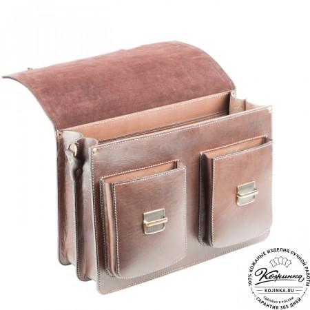 """Кожаный портфель ручной работы """"Коммерсант"""" (коричневый) - 9"""