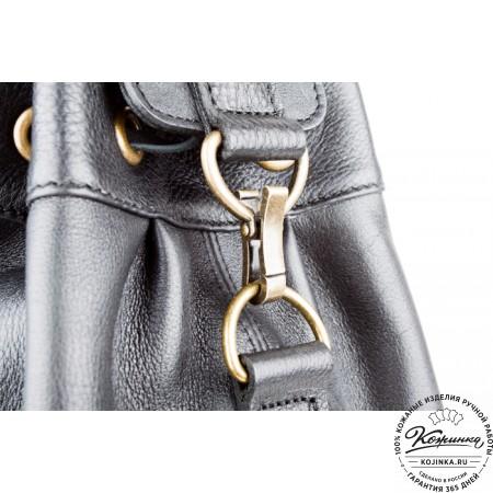 """Женский кожаный рюкзак """"Скиппи"""" (чёрный)"""