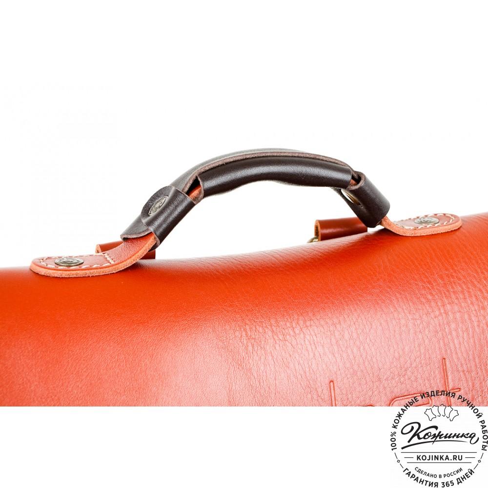 """Кожаный рюкзак """"Спэйс"""" (черно-рыжий)"""
