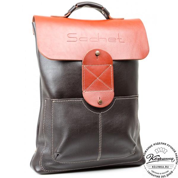 """Кожаный рюкзак """"Спэйс"""" (черно-рыжий). фото 1"""