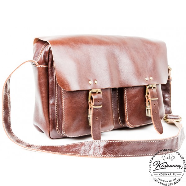 """Кожаная сумка  """"Денди"""" (темно-коричневая). фото 1"""