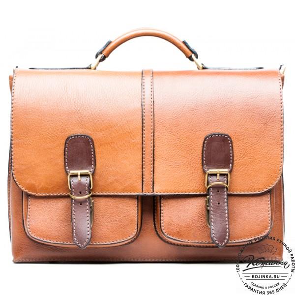 """Кожаный портфель ручной работы """"Рональд II"""" (рыжий). фото 1"""