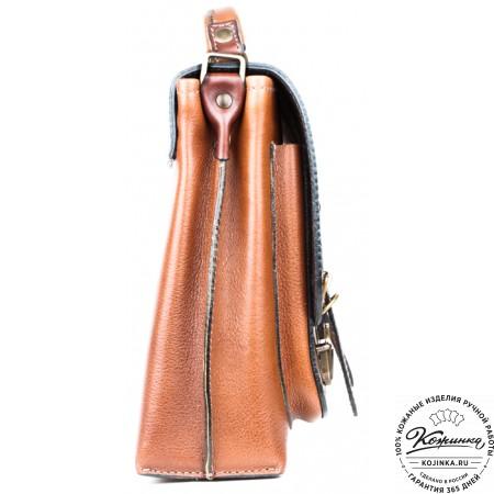 """Кожаный портфель ручной работы """"Рональд II"""" (рыжий)"""