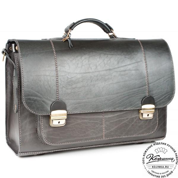 """Кожаный портфель ручной работы """"Прометей"""" (чёрный). фото 1"""
