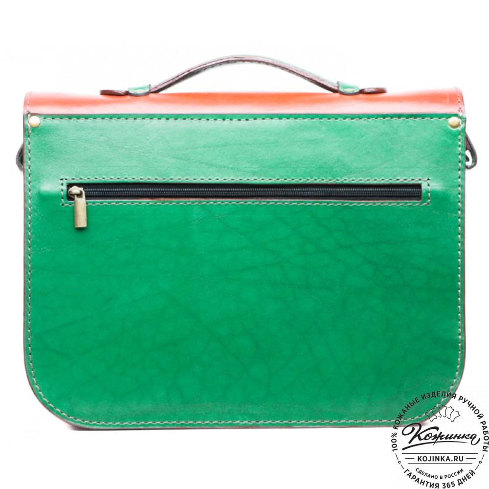 """Кожаный портфель """"Сатчел""""  (красно-зеленый)"""