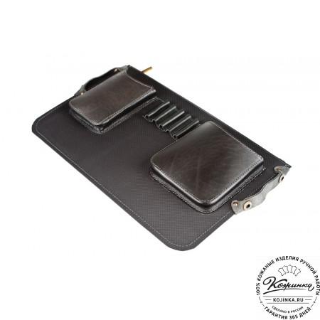 """Кожаный портфель ручной работы """"Прометей"""" (чёрный) - 12"""