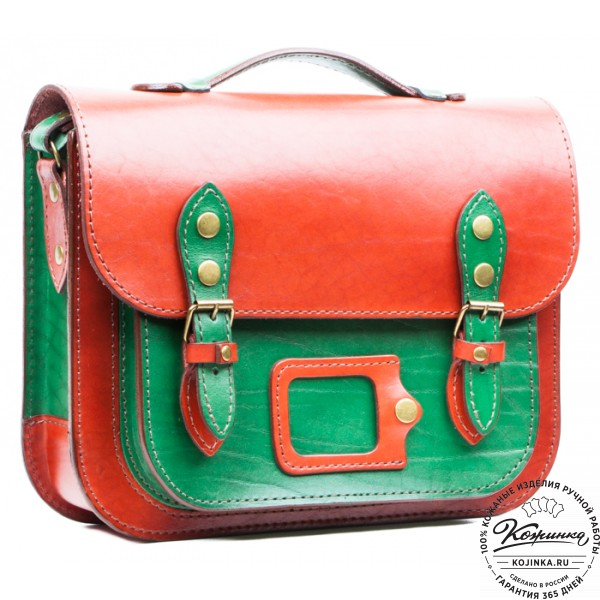 """Кожаный портфель """"Сатчел""""  (красно-зеленый). фото 1"""