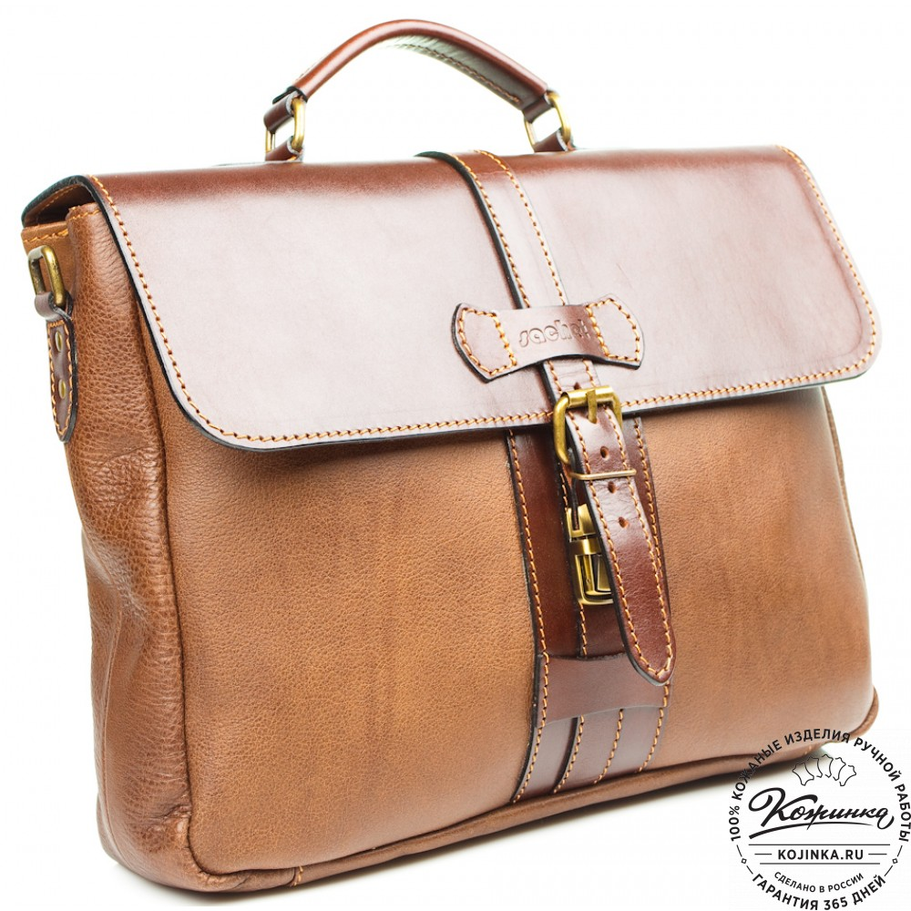 """Кожаный портфель """"Лайт"""" (коричневый)"""
