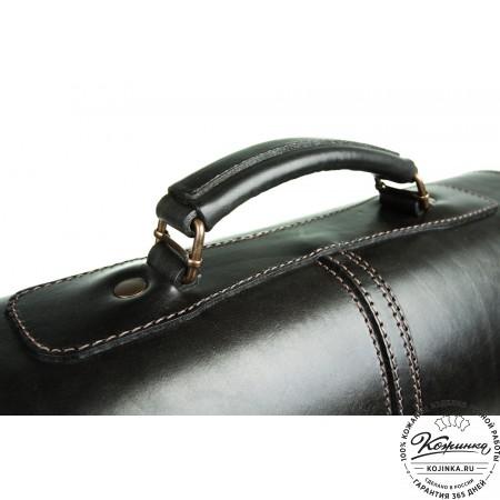 """Кожаный портфель-кофр ручной работы  """"Уран III""""  (чёрный) - 5"""