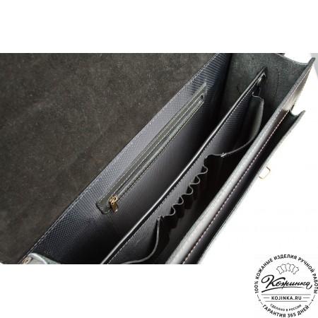 """Кожаный портфель-кофр ручной работы  """"Уран III""""  (чёрный) - 2"""