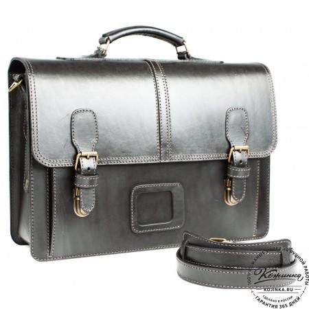 """Кожаный портфель-кофр ручной работы  """"Уран III""""  (чёрный)"""