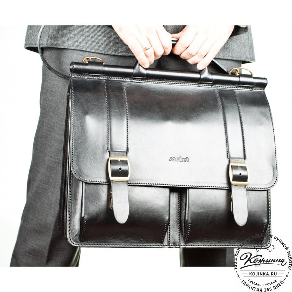"""Кожаный портфель """"Префект"""" (чёрный)"""