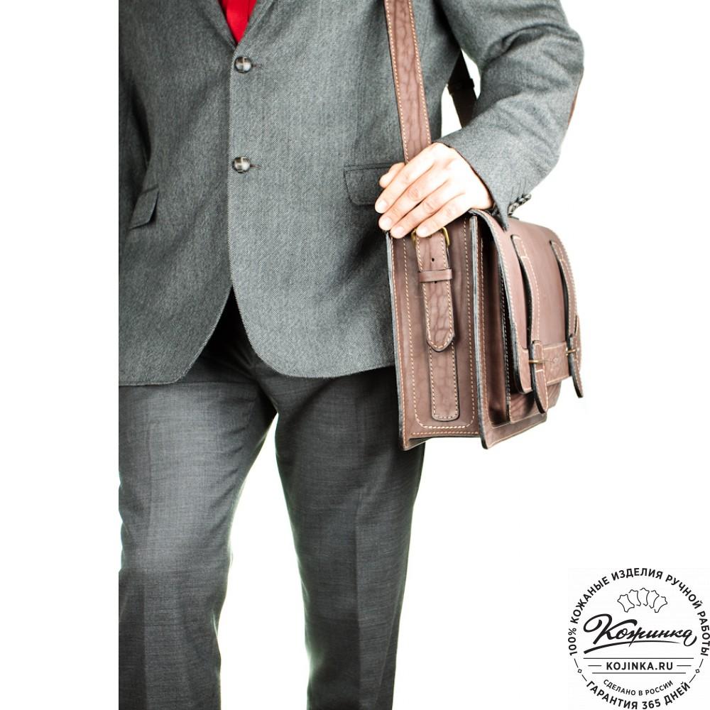 """Кожаный портфель """"Француз"""" (коричневый)"""