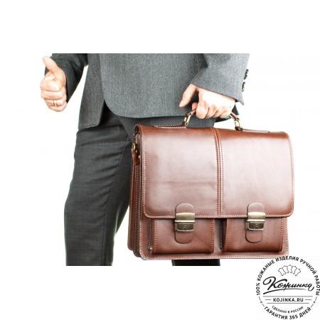 """Кожаный деловой портфель """"Адвокат-1"""" (коричневый) - 9"""