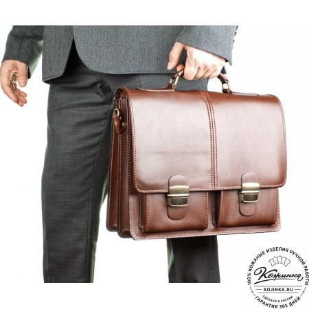 """Кожаный деловой портфель """"Адвокат-1"""" (коричневый) - 2"""