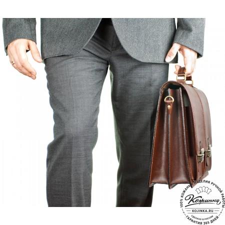"""Кожаный деловой портфель """"Адвокат-1"""" (коричневый) - 7"""
