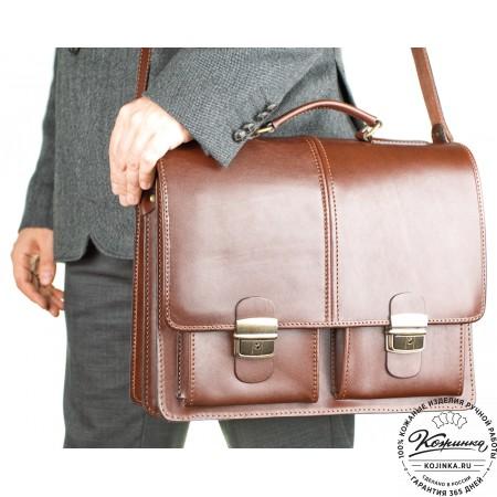 """Кожаный деловой портфель """"Адвокат-1"""" (коричневый) - 6"""