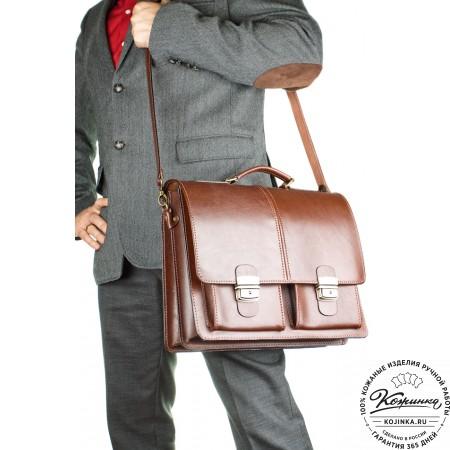 """Кожаный деловой портфель """"Адвокат-1"""" (коричневый) - 4"""