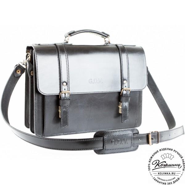 """Кожаный портфель ручной работы """"Пегас-2"""" (черный). фото 1"""