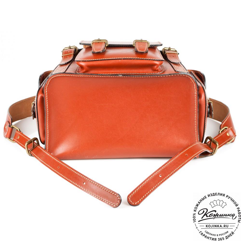 """Кожаный рюкзак """"Кэмэл"""" (тёмно рыжий)"""