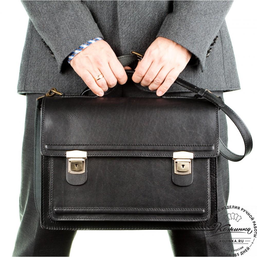 """Мужской кожаный портфель """"Оптима I"""" (чёрный)"""