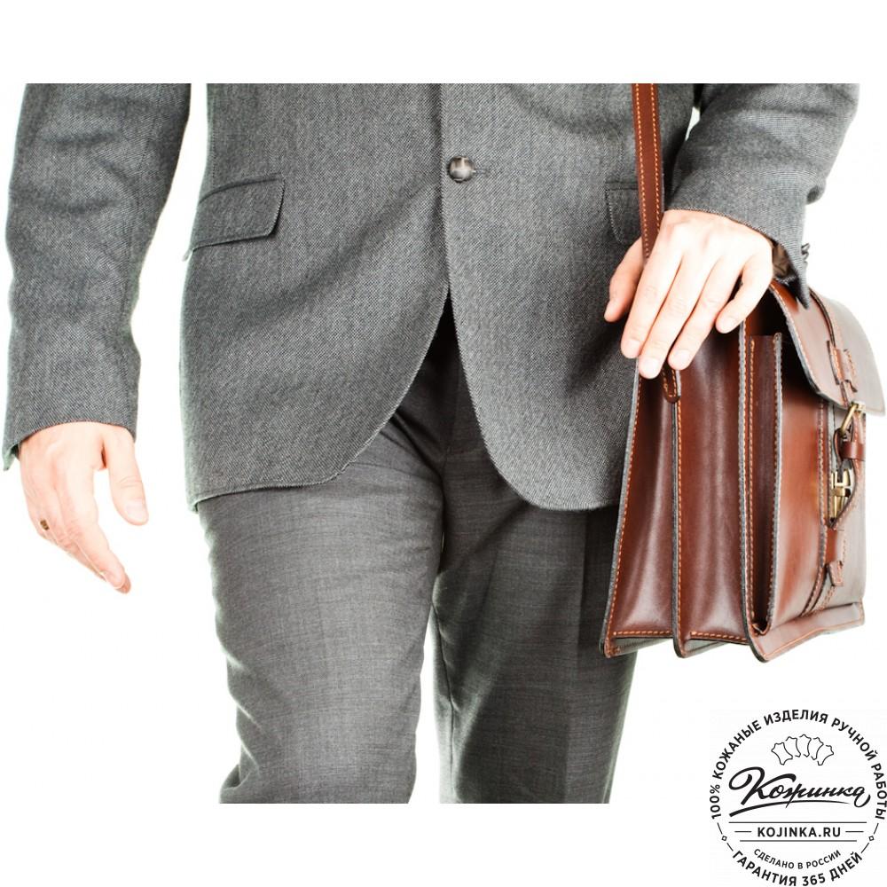 """Мужской кожаный портфель """"Премьер"""" (рыжий)"""
