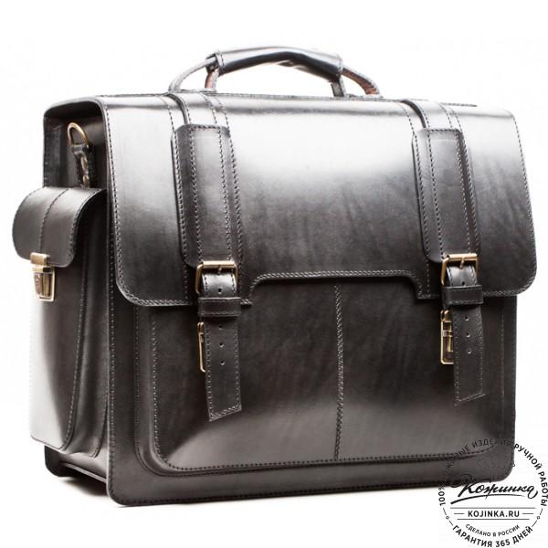 """Кожаный портфель-кофр ручной работы """"Сордо"""" (чёрный). фото 1"""