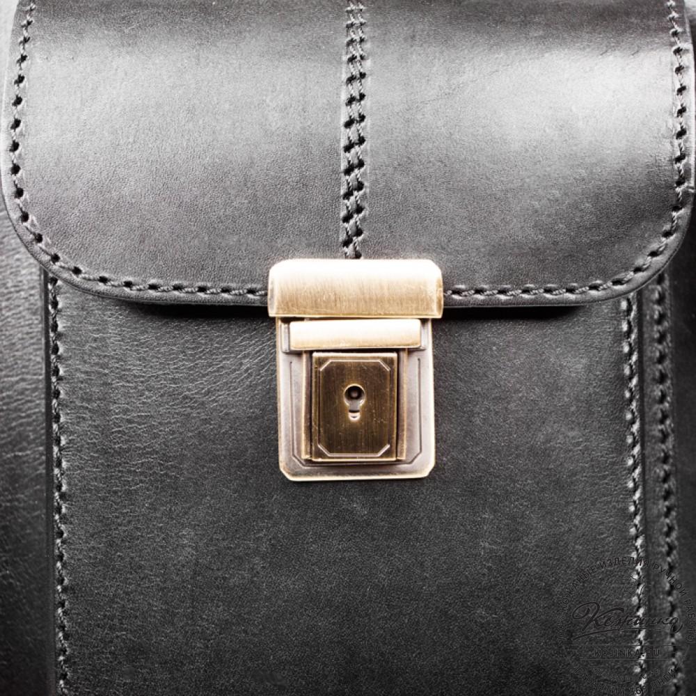 """Кожаный портфель-кофр ручной работы """"Сордо"""" (чёрный)"""
